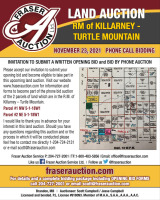 AUCTION OF (2) 1/4 SECTIONS OF FARMLAND RM OF KILLARNEY - TURTLE MOUNTAIN