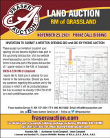AUCTION OF (1) 1/4 SECTION OF FARMLAND RM OF GRASSLAND