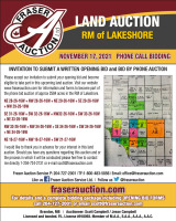 AUCTION OF 2584 ACRES OF FARMLAND & 2 YARD SITES RM OF LAKESHORE