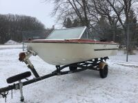 *14' Anchor boat with 40HP Mercury, electric start, new spare tire, w/Calkins boat trailer (K63) ***KEYS***, NO TOD