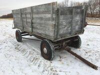 *old wooden grain box w/side chute on 4-wheel wagon