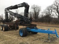 Two HIAB 2650K cranes mounted on a truck frame with tractor pull s/a converter dolly