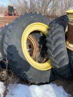 *(2) 420/80R46 Good Year tires on JD row crop dual rims