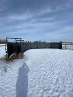 """*45' curved double alley (all steel construction) 30"""" wide cow alley & 18"""" wide calf alley, 5' high sides, end divider gates on each end, off gate to loading chute (see video for best description)"""