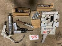 *Manual hyd hose crimper w/ disc & fittins, air chisel, air ratchet, air grease gun