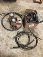 *Box of Misc - lights, black heater cord, rad hoses, hyd hoses and misc