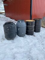 *2 poly rain barrels & 2 metal barrels