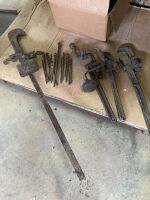 (3) pipe wrenches, Brace-N-bits, beam scale