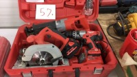 Milwaukee Skil Saw, drill battery charger, flashlight, two batteries