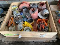 *pallet of electric fencing items: insulators, electric twine, baler twine, gate springs, ratchet tighteners, tags, misc