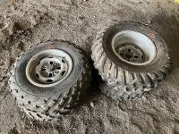 *used quad tires on 4-bolt rims, 25x8-12 fronts, 25x10 - 12 rears