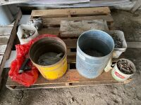 *Pallet of misc: fuel nozzle, cable clamps, bin bolts, nails, NH3 valve, folding table legs (New), metal cladding screws, misc bolts