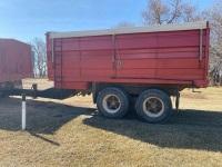 *2002 16' Cancade grain box pup on T/A pintle hitch trailer, VIN#HOMEMADE, Owner: MOIR FARMS LTD, Seller: Fraser Auction__________ ***TOD, & SAFETIED***