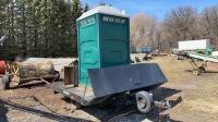 Portable toilet on trailer