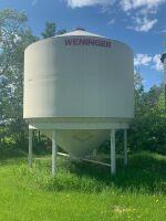 *Approx. 1600-bushel Weninger Epoxy coated hopper bottom fertilizer bin (has never seen fertilizer)
