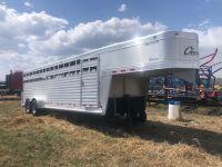 2011 24' Cherokee Warrior t/a Aluminum stock trailer, s/n5PRSG242XB0003338, Owner: David J Malowski, Seller: Fraser Auction_______ ****TOD & SAFETY****