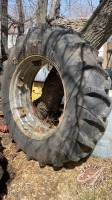 Used 18.4-38 tractor tire on dual rim (poor)