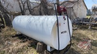 1000-gal Westeel fuel tank w/Fill-Rite FR700V 115-volt pump, s/n68-12-06645