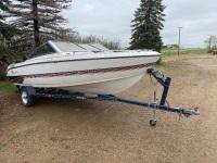 1992 17' Larsen Boat w/1992 Yacht Club Utility, Black, VIN# 4H1001818B0108385 F88 Owner: Beverley Leckie, Seller: Fraser Auction__________ ****KEYS***