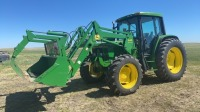 JD 6400 MFWD 85HP tractor with JD 640SL loader, 8707hrs showing, s/nL06400V150207