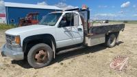 1996 Chev 3500 truck w/10' flat deck, 238,740 showing, VIN# 1GBKC34F8TJ113102 Owner: DEREK M JENKINS, Seller: Fraser Auction______________________