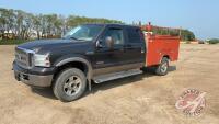 2005 Ford F250 SD Lariat truck w/service body, 420,160 kms showing, VIN#1FTSW21PX5EC94967, H39, Owner: Lonnie D Studer, Seller: Fraser Auction________________ ***TOD & keys - office trailer***
