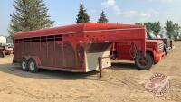 2000 24' Bergen 5th Wheel Livestock Trailer, single partition, s/n 2B9SL15JXYD132883, H132, Owner: Arron J Bridgeman / Christopher Joh Bridgeman, Seller: Fraser Auction______________ ***TOD - office trailer***