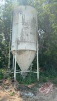 Friesen hopper bottom feed bin on single skid (8ft diameter approx 12ft high plus cone and roof) BIN #7