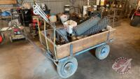 Fencing wagon with misc fencing supplies (sells as a lot)