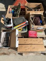 """Pallet of: box of 3 1/4"""" strip nails, new in box-mower battery, (2) New in box quad axles, screw gun-Mastercraft in box, box cleaner/lube, (3) New mower blades, (2) new boxes welding rods, tent pegs in bag, (2) boxes of various tools, New full nozzle, A6"""