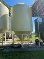 *Approx 1200-bushel Metal Industries bin, 12' diameter epoxy coated hopper bottom bin