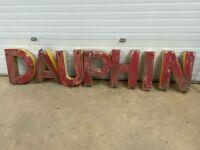 *D A U P H I N metal letters (from old Dauphin Drive-Inn) & drive-Inn speakers (car window mount)