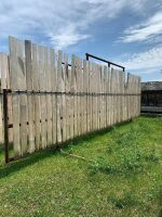 """*30' free-standing windbreak panels made with 3"""" pipe and 8 ft boards"""