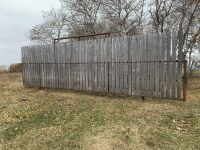 """*30' free-standing windbreak panel made with 3"""" pipe, 8' boards inserted"""